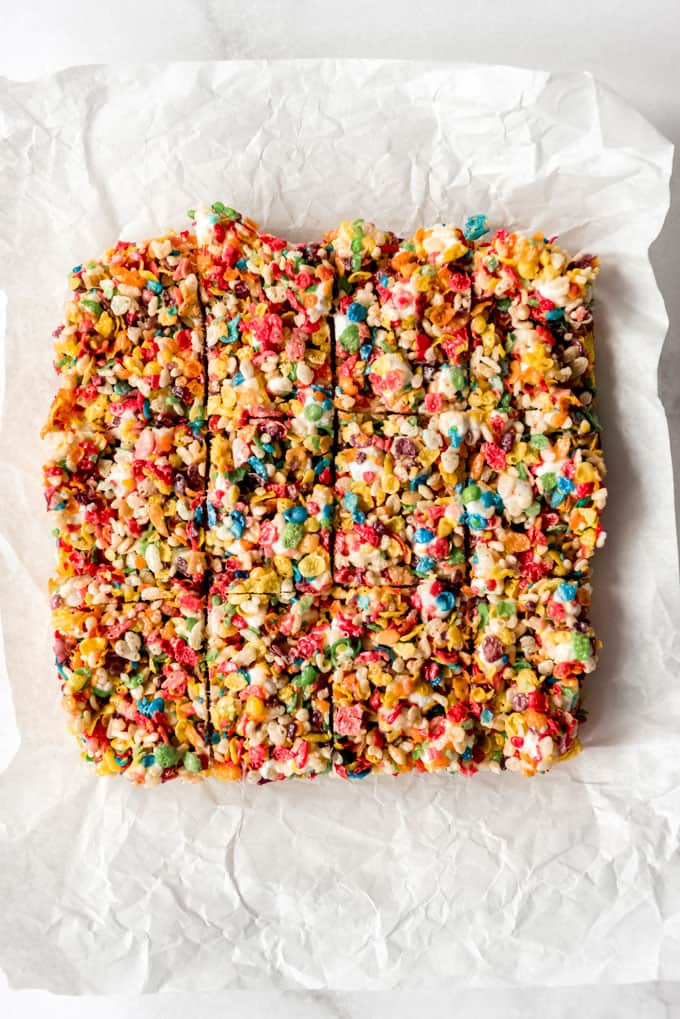 Cereal bars cut into squares