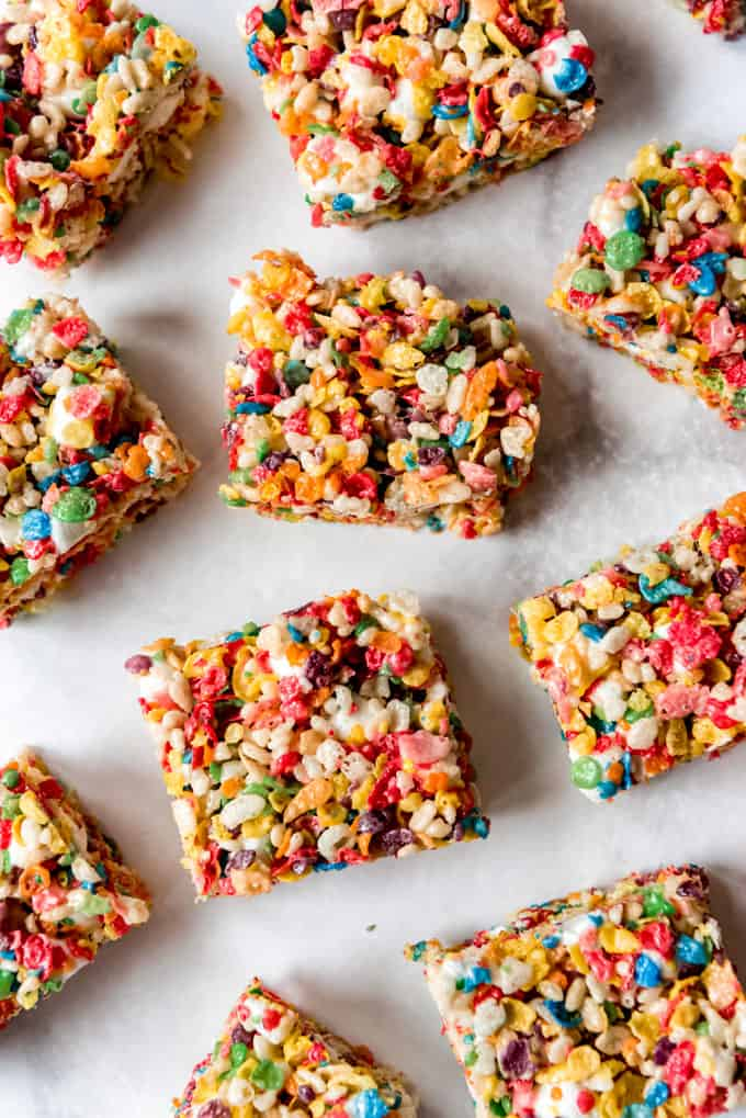 Fruity Pebbles Rice Krispies Treat squares
