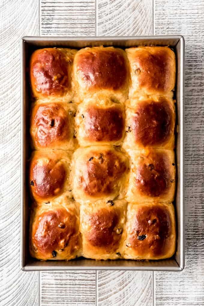 sweet fruit buns brushed with apricot glaze