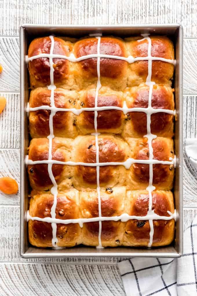 a dozen homemade hot cross buns