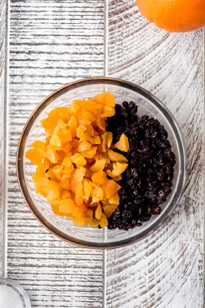 dried apricots and currants in a bowl