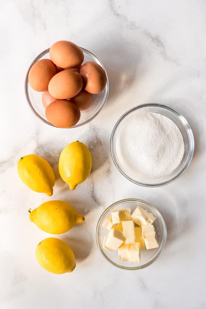 eggs, sugar, lemons, and cubed butter