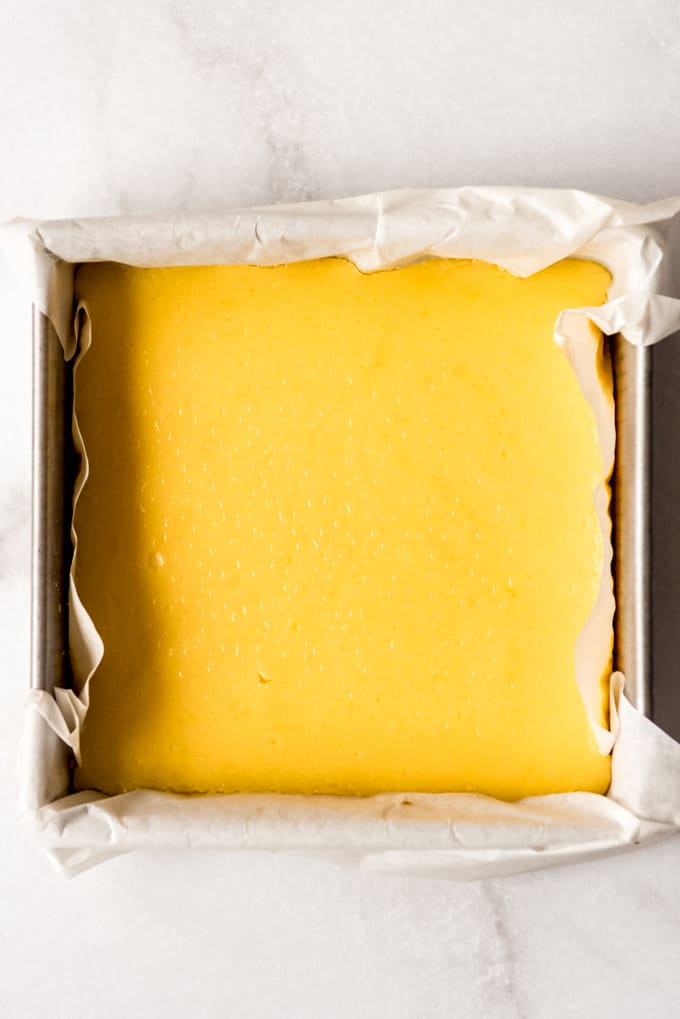 a pan of chilled lemon bars without the meringue topping