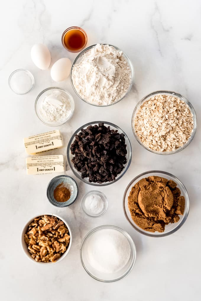 individual ingredients laid out on marble counter