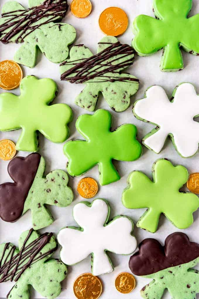 Shamrock shaped cut out mint chip sugar cookies.