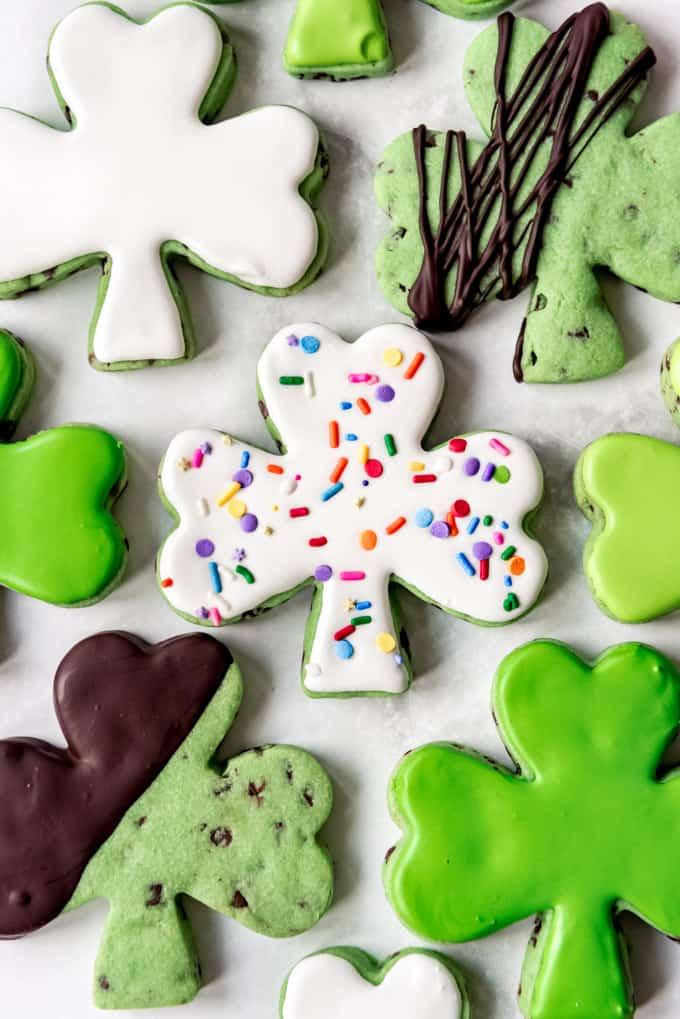 Rainbow sprinkles on St. Patrick's Day sugar cookies.
