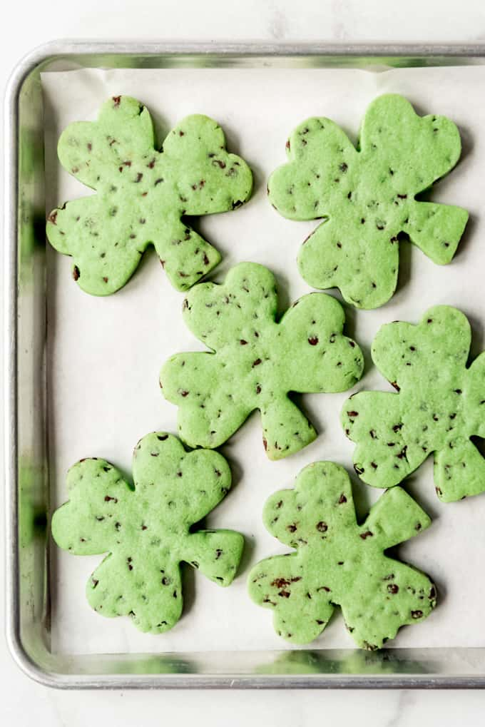 Baked mint chocolate chip cookies.