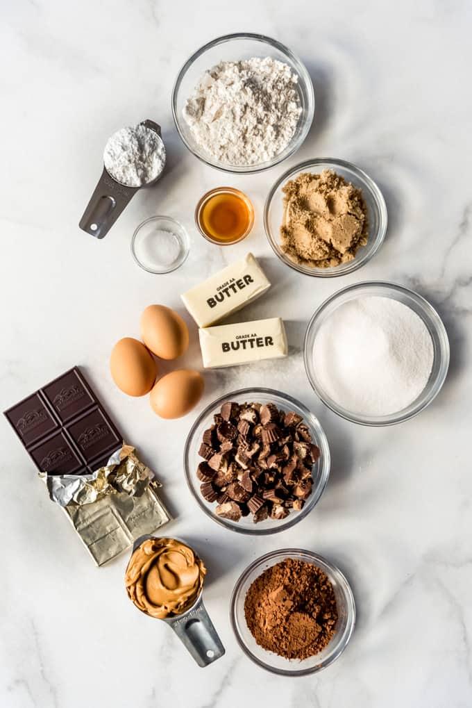 Ingredients on marble background
