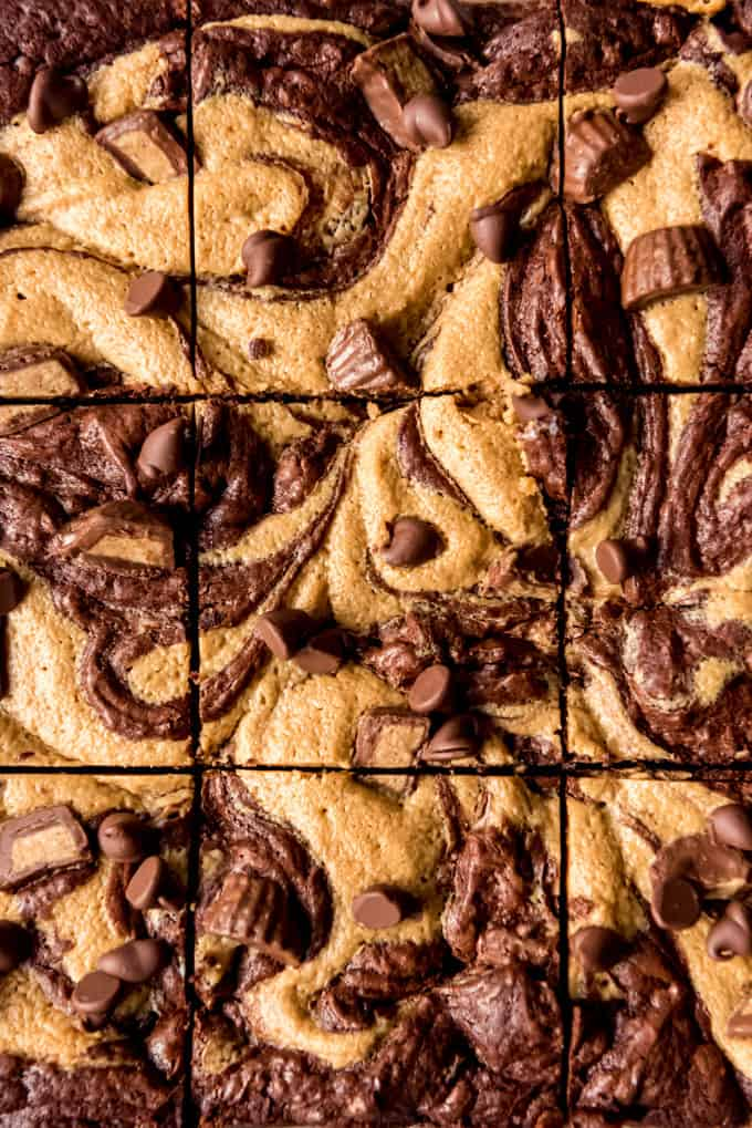 Close up of Peanut Butter Swirl Brownies