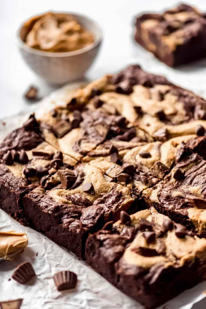 side shot of freshly cut Peanut Butter Swirl Brownies