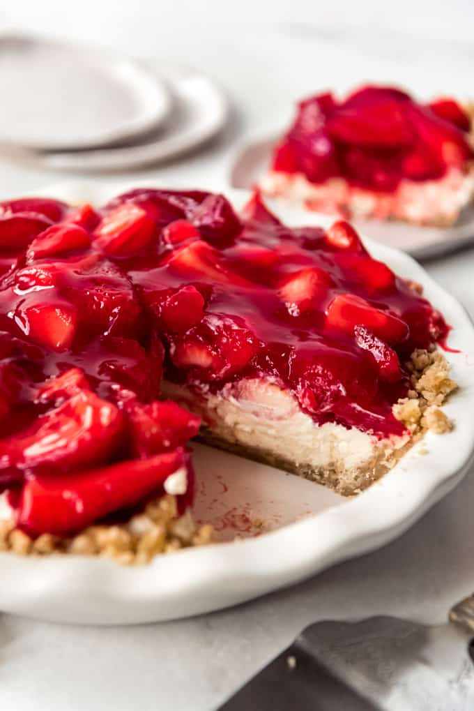 a strawberry pie with cream cheese filling