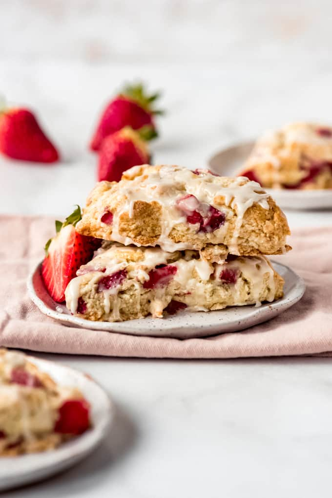 two scones stacked on a plate