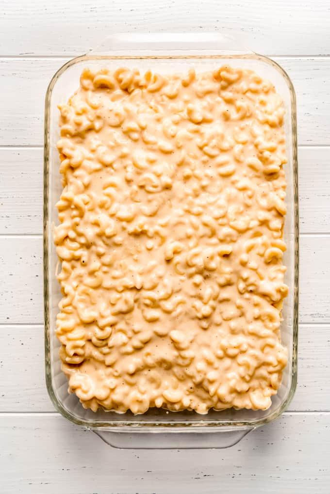 al dente macaroni noodles in a creamy sauce