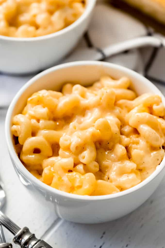 a bowl of homemade baked macaroni and cheese