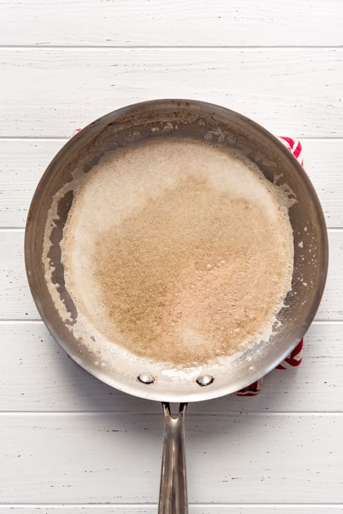 melted butter in a large pan