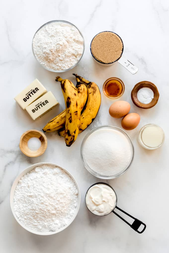 ingredients for frosted banana bread bars