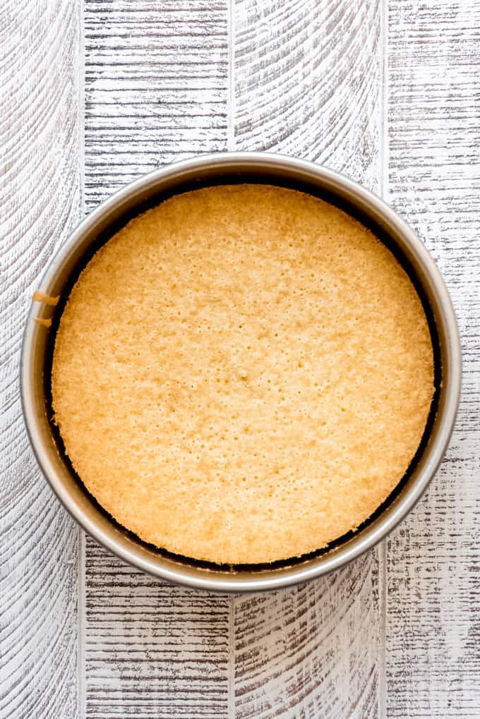 baked yellow cake cooling in the pan