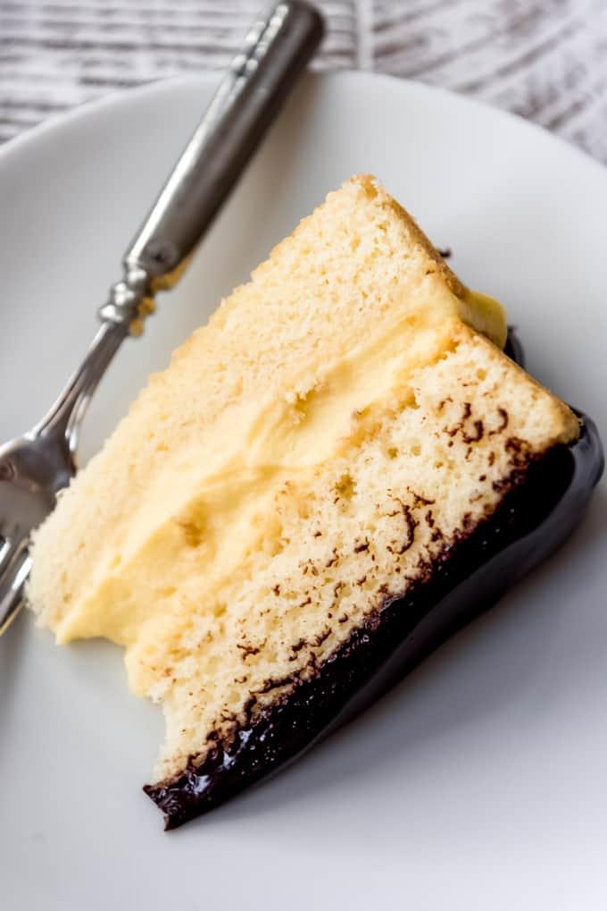 a slice of homemade boston cream pie