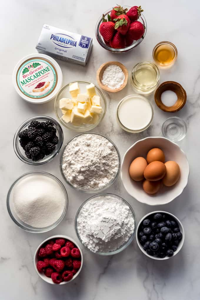 Measured out ingredients for chantilly cake