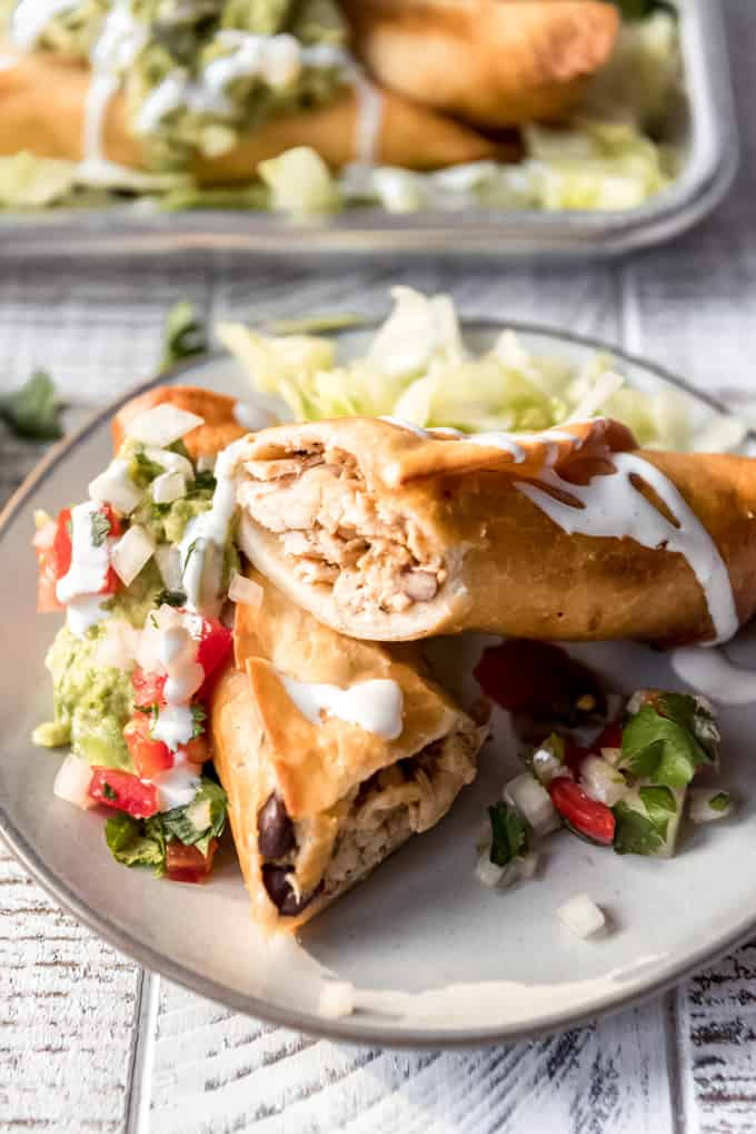 appetizer sized flautas on a plate