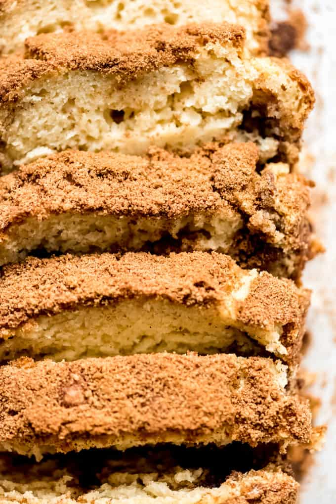 a close image of the cinnamon sugar top of a loaf of quick bread