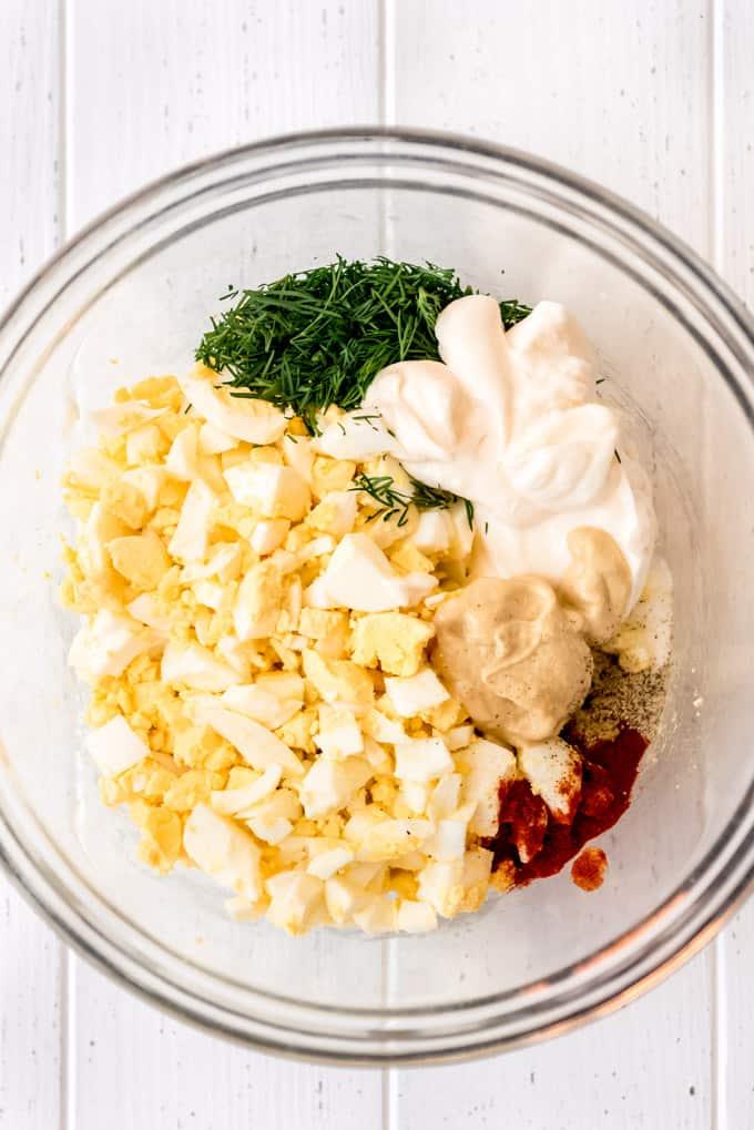 egg salad ingredients in a bowl