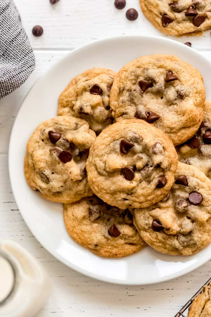 a plate of homemade Nestle Tollhouse chocolate chip cookies
