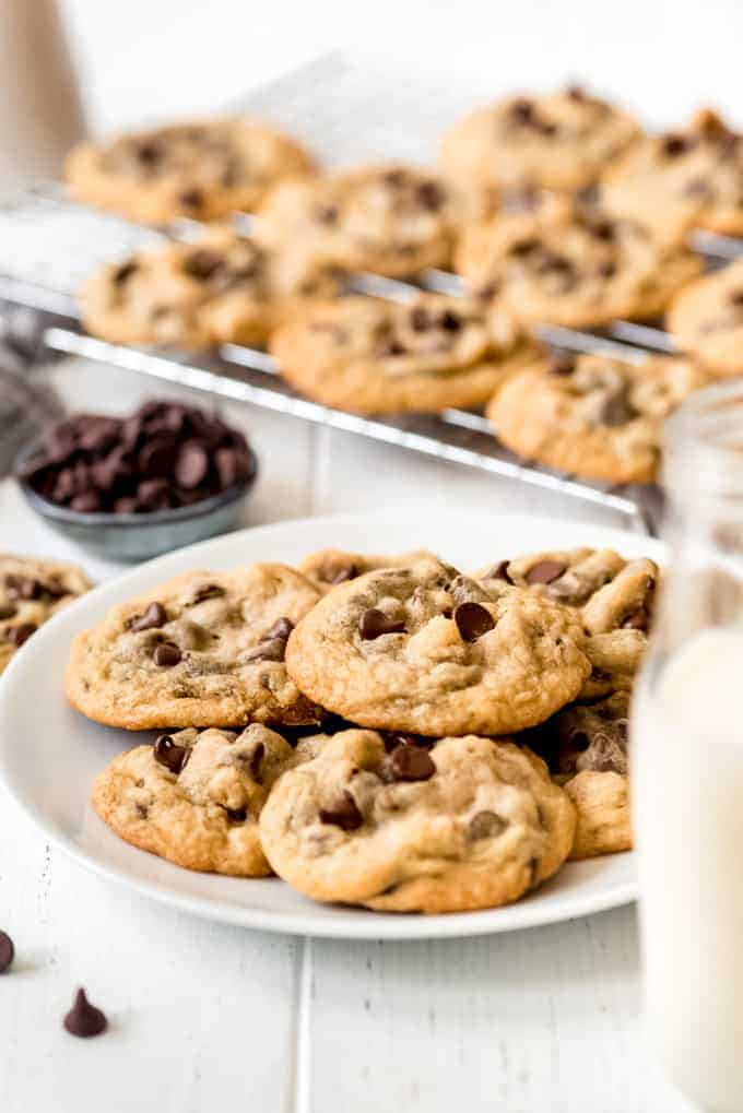 thin chocolate chip cookies on a plate
