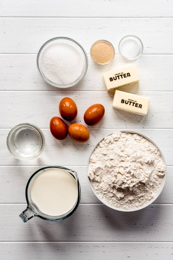 Measured out ingredients for parker house rolls