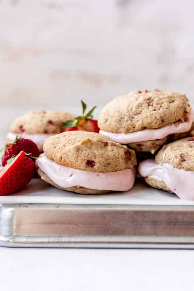 strawberry whoopie pies with soft strawberry marshmallow filling