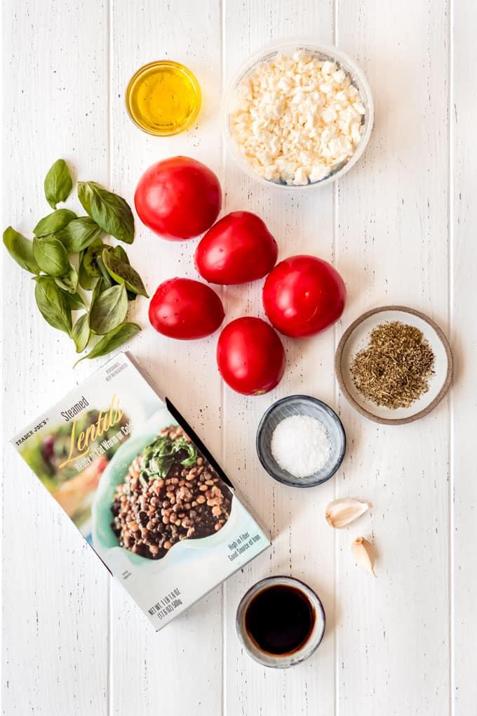 ingredients for lentil bruschetta dip