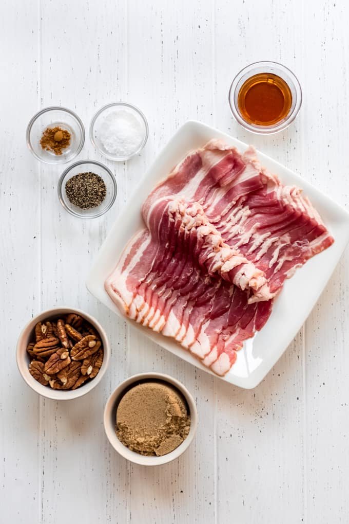 measured ingredients for candied bacon