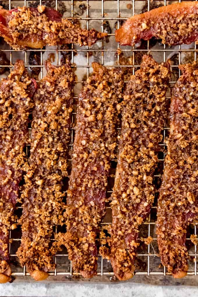 candied bacon on wire rack