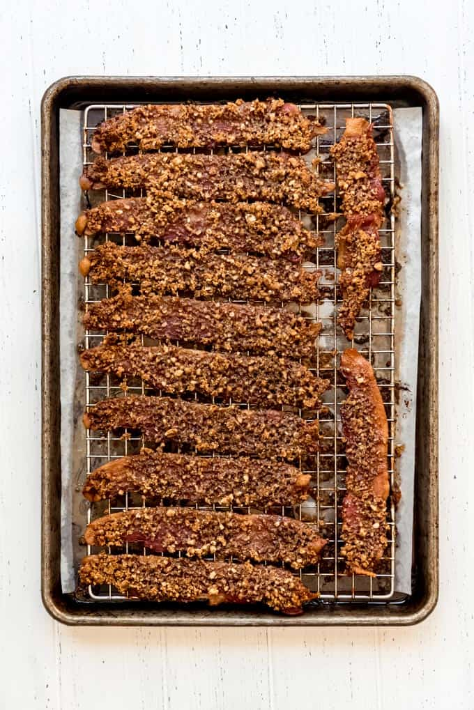 candied bacon on wire rack on baking sheet