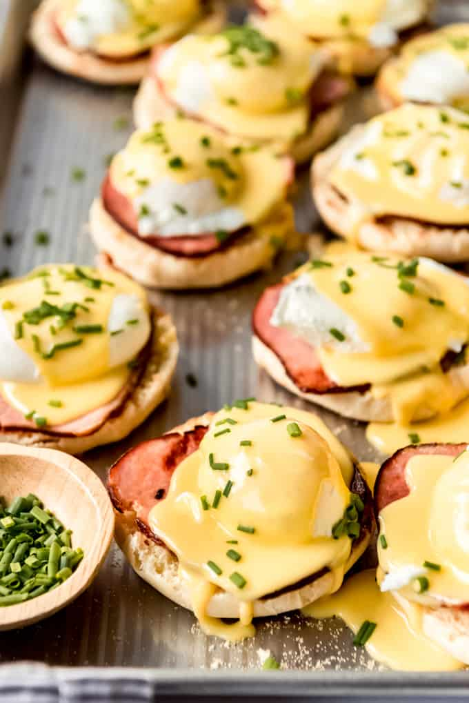 eggs benedict with hollandaise sauce and chives