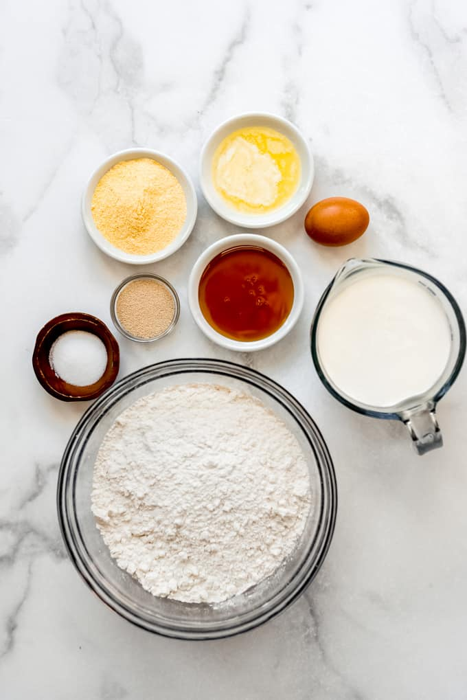 Measured out ingredients for Homemade English Muffins
