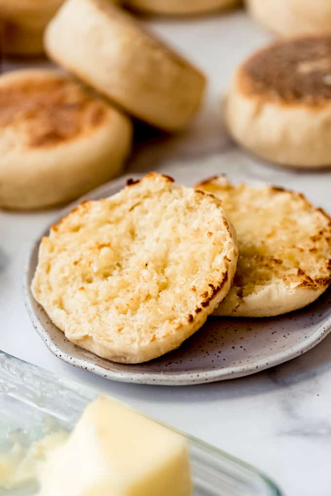 Homemade English Muffin sliced and on plate