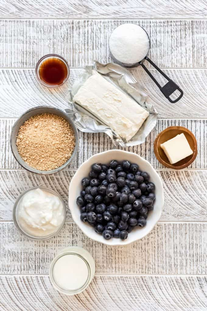 blueberry cheesecake popsicle ingredients in separate bowls