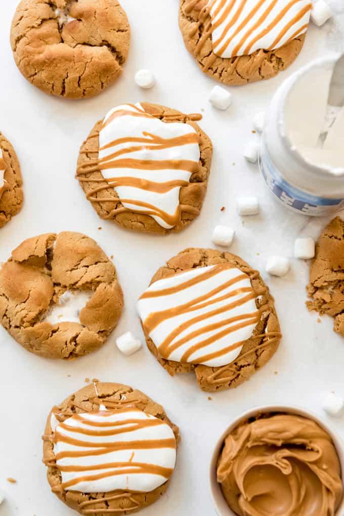 an overhead image of fluffernutter cookies