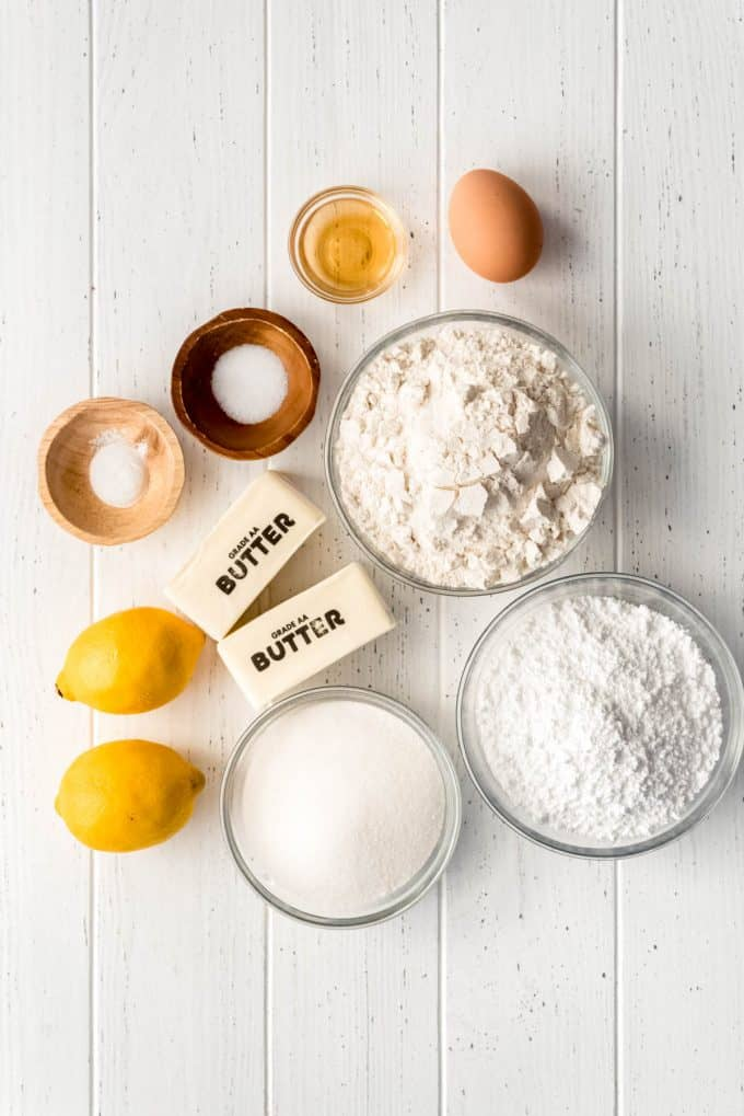 glazed lemon cookie ingredients  on a white surface
