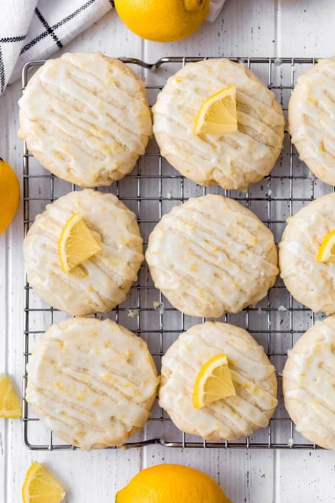 lemon cookies with lemon glaze on a wire rack