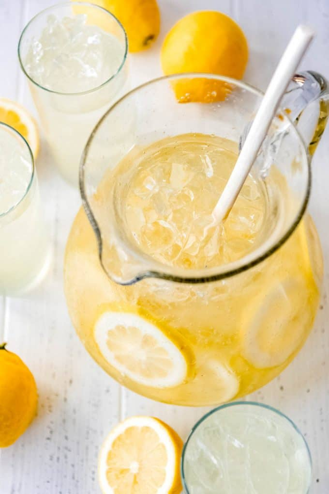 a pitcher full of ice and homemade lemonade