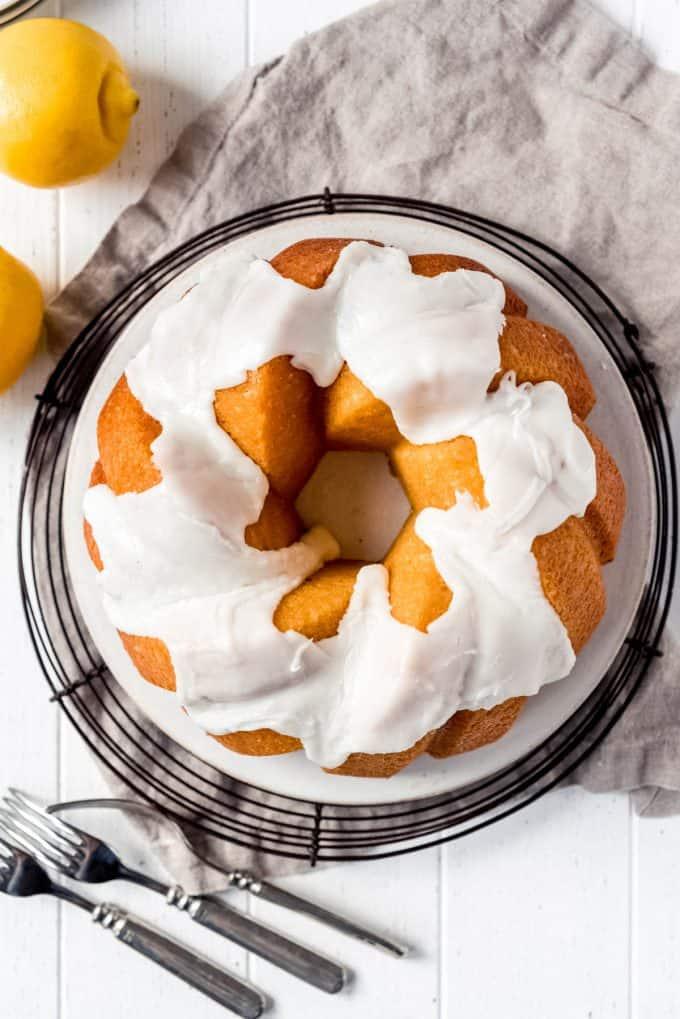a bundt cake with glaze on top