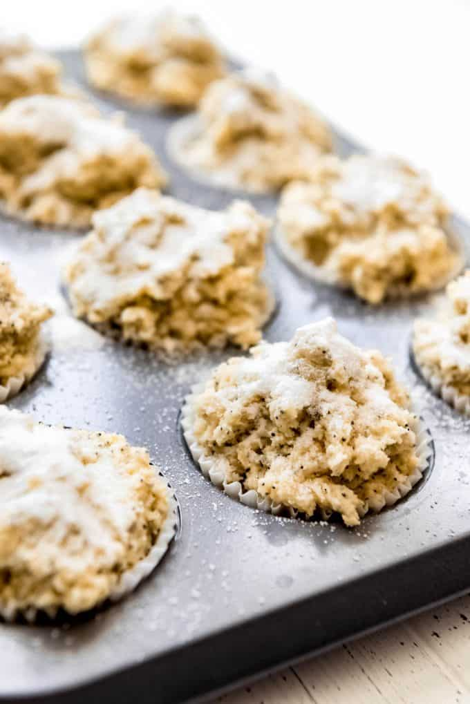 muffin batter in paper liners