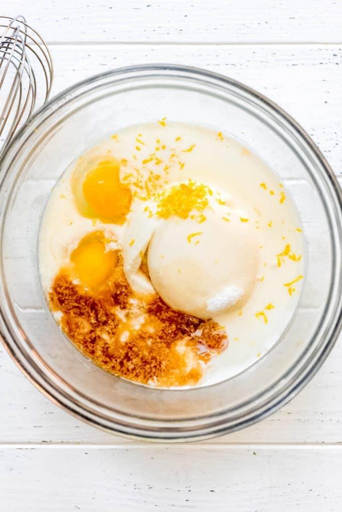 lemon ricotta pancake ingredients in a bowl