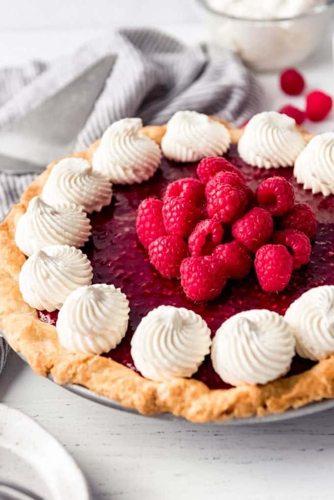a homemade raspberry cream cheese pie