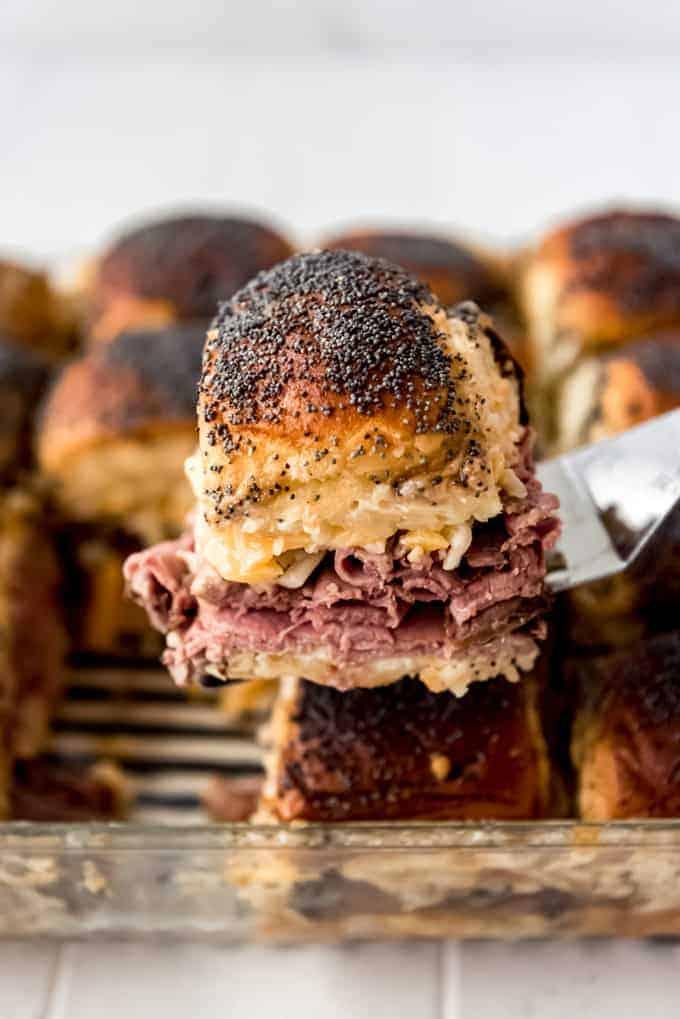 a roast beef slider on spatula