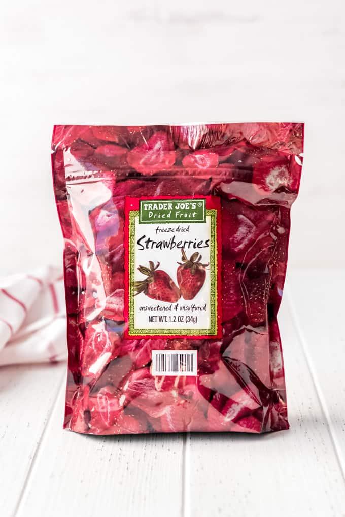 Trader Joe's freeze dried strawberries in a bag