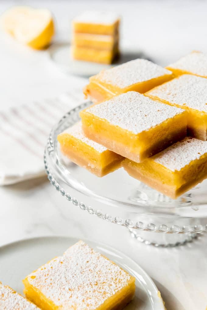 lemon bars made with fresh lemon juice and egg yolks