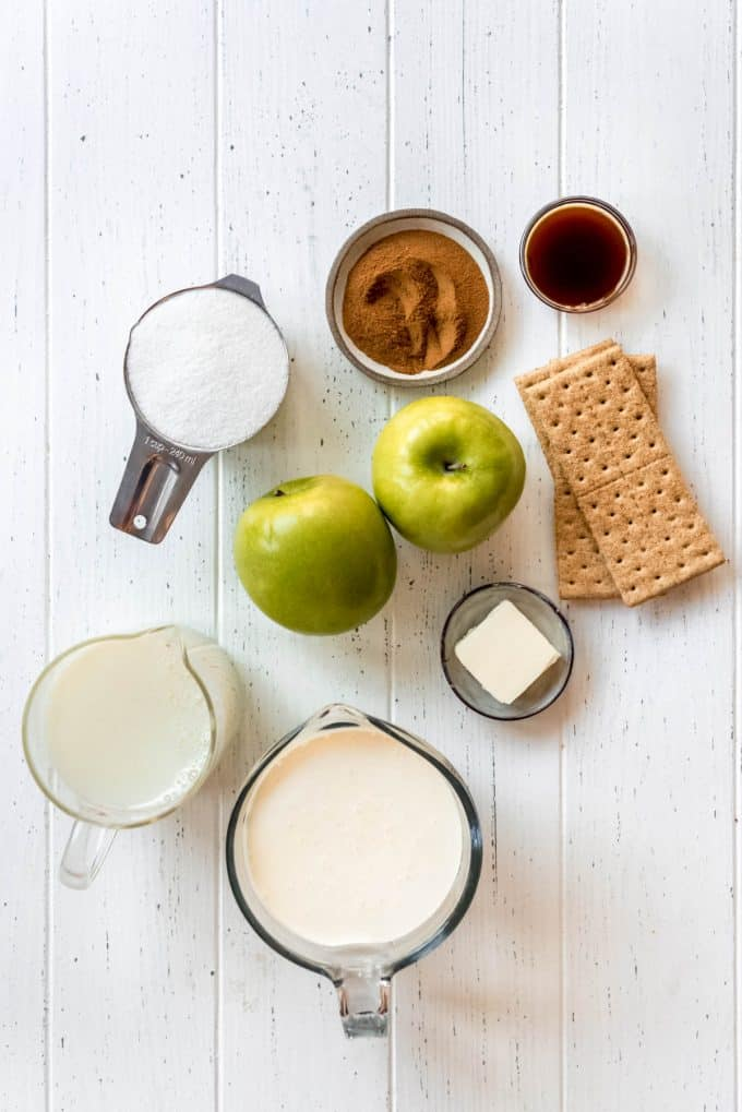apple pie ice cream ingredients on a white surface